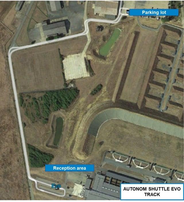 Parcours de la navette Autonom Shuttle Evo au Centre National de Tir Sportif